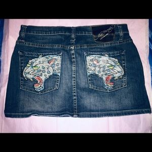 Ed Hardy Jeweled Jean Skirt